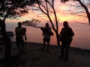 Banda de Xeremiers 'Ciutat de Mallorca' sonant a la posta de sol.