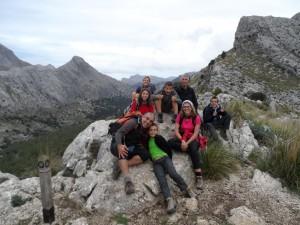 El grupet de famílies que completaren la ruta sobre el Coll des Portellet.