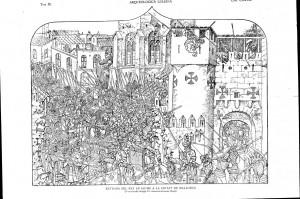 Il·lustració basada en una de les imatges de la pedrel·la del Sant Jordi de Pere Niçard (S.XV)