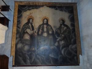 Pintura de la Santíssima Trinitat (1525). L'Esperit Sant en forma humana: el concili de Trento (1545-15639 declarà herètica aquesta representació.