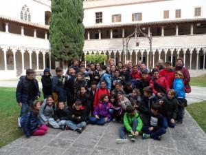 Amb els alumnes, al clastre de Sant Francesc de Palma.