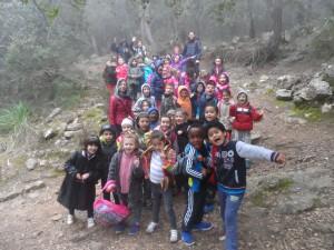 El grup de 1r de primària del CEIP Son Oliva en el camí del Correu, molt a prop del coll de la Talaieta.