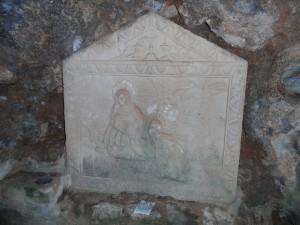 Relleu del segle XVII a l'interior de la cova del beat Ramon Llull.