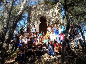 Amb els alumnes de 3r i 4t d'ESO en el mirador de la Capella del Puig del Verger.