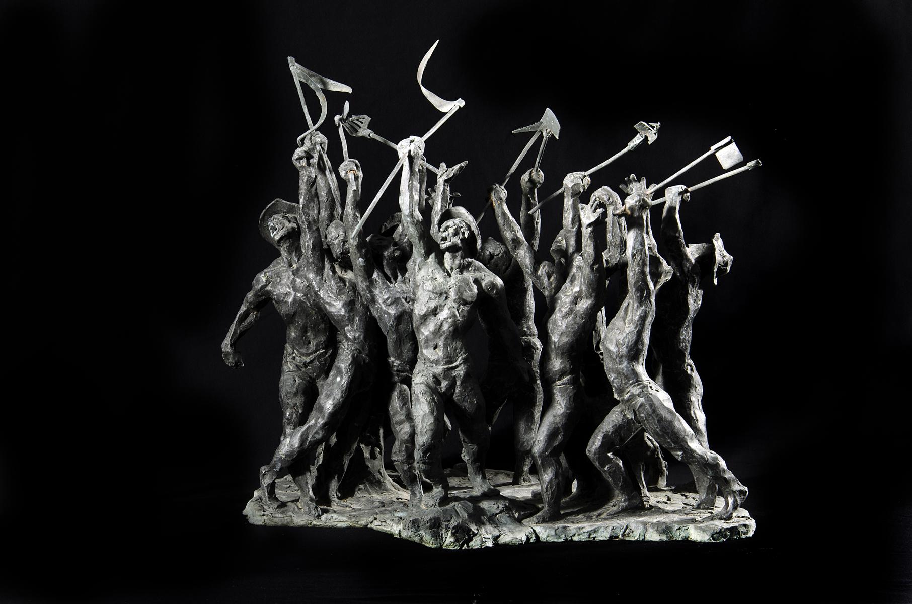 Els agermanats (1991), escultura en bronze de Jaume Mir