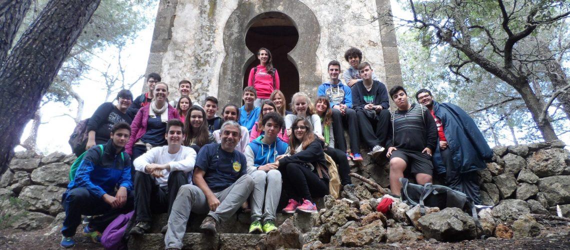 Amb el grup de l'IES Can Peu Blanc de Sa Pobla en el mirador del puig del Verger.
